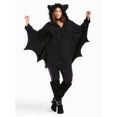 Torrid Leg Avenue Halloween Bat Hooded Sweatshirt Costume ($61) ❤ liked on Polyvore featuring costumes, bat wing costume, women's plus size halloween costumes, bat halloween costume, plus size bat costume and womens plus costumes