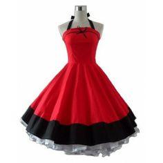 RockABillyGirlZ Vintage Halter Red & Black RockABilly Swing Dress