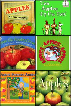 My 5 Apple themed books are: 1. Apples by Gail Gibbons 2. Ten Apples Up on Top! by Dr. Seuss 3. Apples, Apples, Apples. by Nancy Wallace 4. How Do Apples Grow? by Betsy Maestro 5. Apple Farmer Annie by Monica Wellington