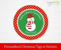 Christmas Tags, Christmas Snowman Tags, PRINTABLE Christmas Stickers, Christmas Gift tags, Christmas Party Supplies 2.5 inch Circle,   #Stickers #PartySupplies #ChristmasGiftTags #ChristmasTreatTags #ChristmasTags