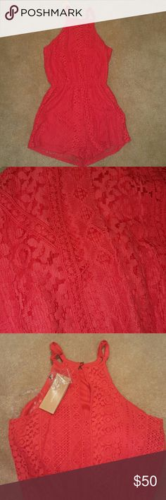 Francesca's Red Romper Never worn red lace print romper! Very cute! Francesca's Collections Other High Low