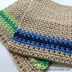 Linen stitch dishcloths - free crochet pattern