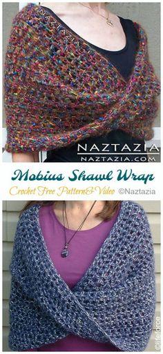 Crochet shawl 242842604894448803 - Mobius Shawl Wrap Crochet Free Pattern [Video] – Crochet & Knitting Source by tulsak One Skein Crochet, Crochet Shawl Free, Gilet Crochet, Crochet Shawls And Wraps, Easy Crochet, Crochet Stitches, Free Crochet Poncho Patterns, Knitted Shawls, Crochet Scarves