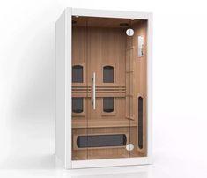 Moderne en compacte infrarood sauna voor bad of slaapkamer van SuperSauna | Dé Specialist in Therapeutische Infrarood Sauna's Cabine Sauna, Tall Cabinet Storage, Locker Storage, Sauna Room, Lockers, Building, Furniture, Design, Home Decor