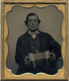 ca. 1860s, [hand gilt ambrotype portrait of a man holding his concertina] - via Bryan & Page Ginns' Stereographica Antique Photographica