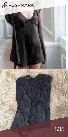 Victoria's Secret black satin robe size M Victoria's Secret, black satin robe. Size M. Lace trim, short sleeves with slits. Never worn. No tags. No trades. Victoria's Secret Intimates & Sleepwear Robes