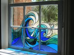 Ocean waves stained glass This is gorgeous! (I can totally see a set of windows, each with a different design that comes together to create a house-sized ocean scene. Stained Glass Flowers, Stained Glass Crafts, Faux Stained Glass, Stained Glass Designs, Stained Glass Panels, Stained Glass Patterns, Leaded Glass, Glass Painting Patterns, Mosaic Art