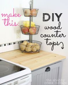 DIY wood countertops via www.theshabbycreekcottage.com