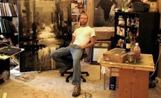 Jeremy Mann in his studio. His website is www.redrabbit7.com