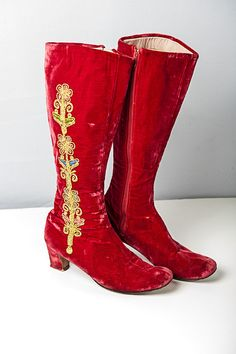 Bohemian Vintage 60's Red Velvet Embroidered by FripperyFrocks, $75.00 ~ These are utterly AMAZING! I would LOVE these