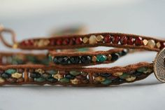 Czech Super Duo and Faceted Round Bead 4 Wrap by FlowSilverJewelry, $91.95