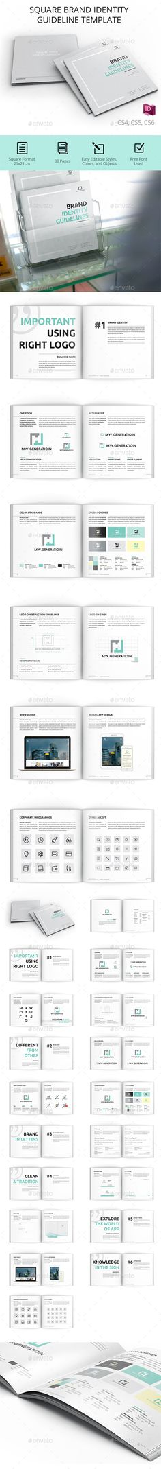 Brand Manual Template Indesign Indd   Pages A  Diseo