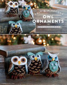 DIY: Felt & Pinecone Owl Ornaments