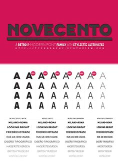 A quick presentation of my Novecento font family. 32 styles (6 of them are FREEWARE), 12 opentype features, 5 alternate glyphs, 76 latin based supported languages, desktop and webfont versions.  For more details, a pdf specimen and download links visit :  http://typography.synthview.com