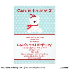 Polar Bear Birthday Invitation Celebrate your child's winter birthday with this adorable polar bear invitation!