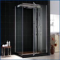free standing shower stall with door
