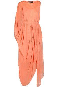 Saloni Lisa draped Swiss-dot chiffon maxi dress | NET-A-PORTER