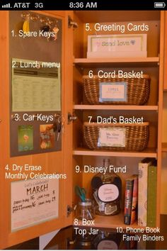 I'm in love with this idea to hide the countertop clutter. Will be great for the big cupboard neareast the garage door and over the radio.