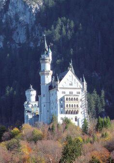 Neuschwanstein Castle looms over the town of Hohenschwangau