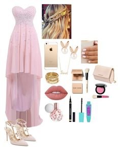 """""""Pink❤️❤️"""" by hogea-laura ❤ liked on Polyvore featuring Valentino, Aamaya by priyanka, Sydney Evan, ABS by Allen Schwartz, Lime Crime, Yves Saint Laurent, Bobbi Brown Cosmetics and Givenchy"""
