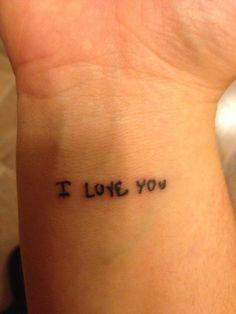 My #wrist #tattoo done 3.8.13 in my husband's hand writing <3