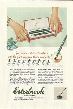 Esterbrook Fountain Pen Original 1951 Vintage Ad Color Illustration Christmas Gift Nib Pen and Push Pencil Set on Etsy, $9.99
