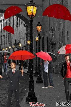 ******MERCY**** Red Umbrella, Under My Umbrella, Cozy Rainy Day, Foto Gif, I Love Rain, Rain Days, Autumn Rain, Amazing Gifs, Image Gifts