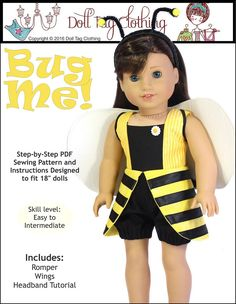 """Bug Me! 18"""" Doll Clothes. Pattern by Doll Tag Clothing."""