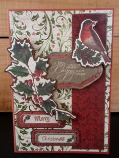 Another of my favourites for the year. A very pretty christmas card which centres aroung the robin and holly with red and green being the base colours. robin, holly, merry christmas, christmas joy, red and green.
