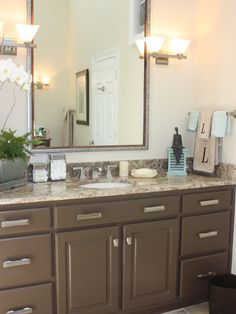 cabinet color | hardware for upstairs and down stairs bathroom