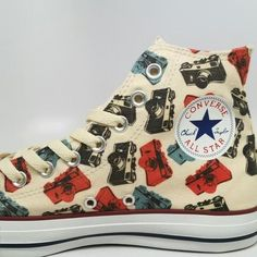 cb22d50965fadc Custom Converse With Camera Print on Natural Canvas.  converse  camera   shoes New