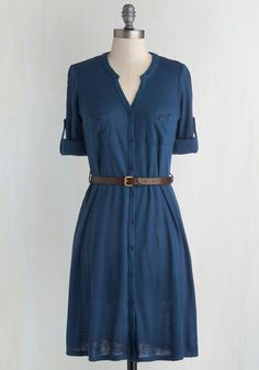 T.A.-Okay Dress in Blue - Knit, Blue, Solid, Buttons, Belted, Casual, A-line, 3/4 Sleeve, Good, Pockets, Safari, Fall, Mid-length, Scholastic/Collegiate