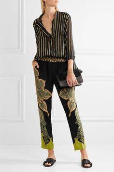 Etro - Paisley-print Silk Crepe De Chine Pants - Black - IT48