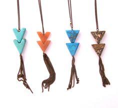 Chevron Tassel Stone Necklace Triangle Tassel by MStreetStudio, $30.00