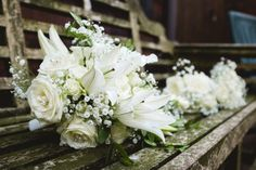 Wedding bouquet - lilies and myrtle from Field of Dreams Florist