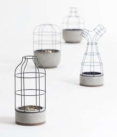 Caged Cement Flower Pots - This Wire Vase Collection Features a Balance of Light an Heavy (GALLERY)