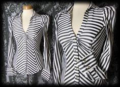 Gothic Black White FORBIDDEN LOVE Candy Stripe Corset Blouse 8 10 Vintage
