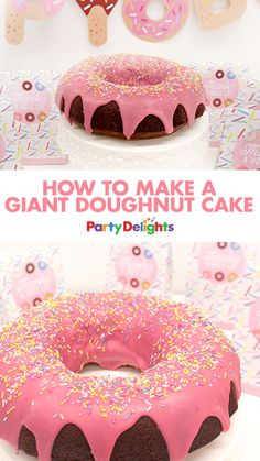 Find out how to make a giant doughnut cake - a super easy birthday cake idea that would make the perfect centrepiece at a doughnut party!