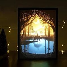 Belleyple Christmas 3D Papercut Light Boxes Shadow Box Led Night Lamp Creative Gift Bedroom Living Room Remote ControlMy Friend Handmade