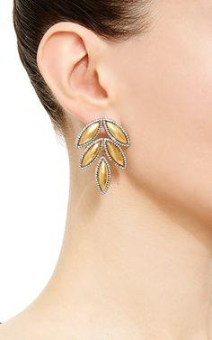 18K Yellow Gold Earstuds With Silver Pavé-Set Diamonds