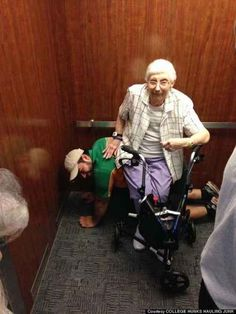 This man providing a comfortable seat after an elevator got stuck: