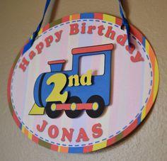 Train Birthday Party Decorations, Thomas the Train, Train Party DOOR SIGN - Custom Message - 2nd Birthday, 3rd Birthday, 1st Birth