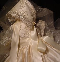 Alexandria, Christening Gown,Cap,Bib with personalization. Limited edition.