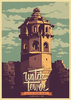 Discover India - Hampi, the City of ruins, a retro poster series by Ranganath Krishnamani. Ranganath Krishnamani, a Bangalore, India based designer and ill Art And Illustration, Illustrations Posters, Pinterest Arte, Gif Disney, Poster Design Inspiration, Daily Inspiration, Design Ideas, Kunst Poster, India Art