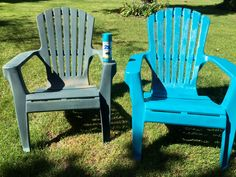 Took care of my old faded plastic adirondack chairs with a little spray paint