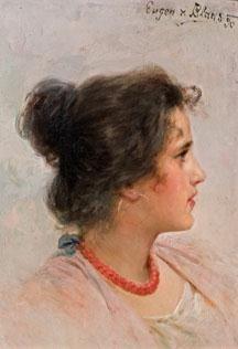 Eugene de Blaas, Portrait of a girl