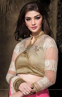 latest designer blouse patterns for saree with jacket look and round neck