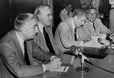 Governor Brendan Byrne signs the 1979 Public Transportation Act into law in July 1979. With him are (from left) NJDOT Commissioner Louis J. Gambaccini, Senator Francis X. Herbert and Senate President Joseph Merlino. Image: State of New Jersey