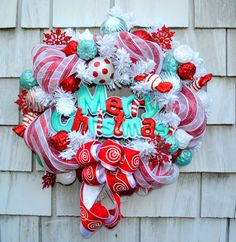 Christmas Wreath for the Door Merry by TisTheSeasonDesign on Etsy