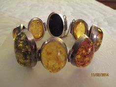 Amber in Sterling 8 Large Cabachons Vintage by FineThingsShop